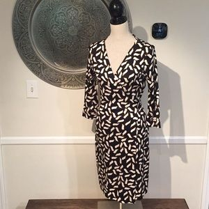 DVF 'New Julian Two' black print wrap dress